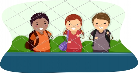 Illustration of School Kids Standing on One Side of a Cyclone Fence Stock Illustration - 15590866