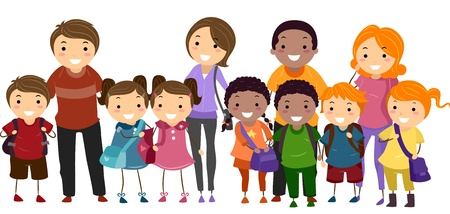 parents: Illustration of School Kids Neatly Lined Up in One Row Together with Their Parents