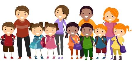 family clipart: Illustrazione di bambini della scuola ordinatamente allineati in una fila con i loro genitori