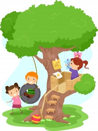 'hide out': Illustration of Kids Playing in a Treehouse