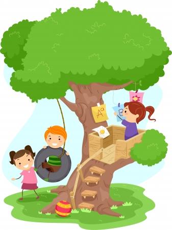 niños jugando caricatura: Ilustración de niños jugando en un árbol Foto de archivo