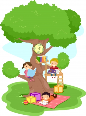 Illustration of Kids Reading in a Treehouse Stock Photo