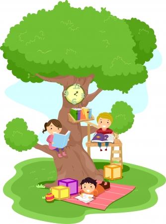 bambini che leggono: Illustrazione di bambini lettura in un Treehouse