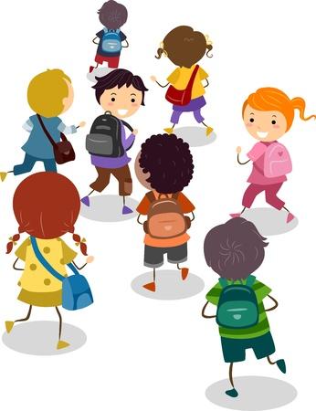niños en la escuela: Ilustración de niños de escuela en su camino a la escuela