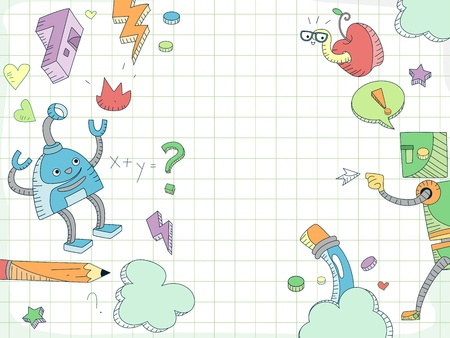 Doodle Background Featuring Robots Surrounded by Education Related Items photo