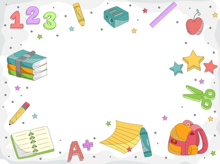 Doodle Illustration Featuring Letters, Numbers, and Miscellaneous School Supplies illustration