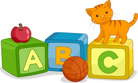 Illustration of a Cat Standing on a Learning Block with the Letter C Written on it illustration