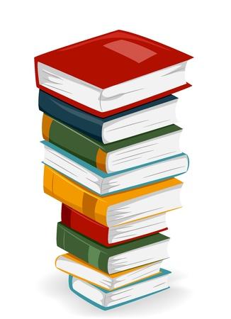 libro caricatura: Ilustraci�n de una alta pila de libros con portadas diferentes