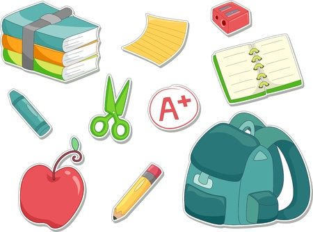 Illustration of an Apple, Sharpener, Notebook, Crayon, Pencil, A+ Mark, Schoolbag, and a Stack of Books Ready to be Made into Stickers  Stock Illustration - 15590732