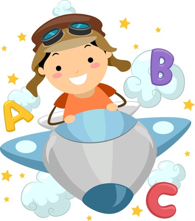 piloting: Illustration of a Boy Piloting a Plane Surrounded by Letters of the Alphabet