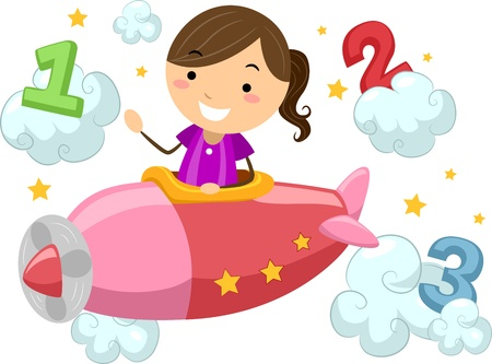 clouds clipart: Illustration of a Boy Piloting a Plane Surrounded by the Numbers 1, 2, and 3