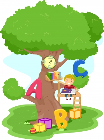 Illustration of a Boy Reading in a Treehouse illustration