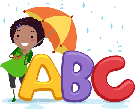 Illustration of a Girl Holding an Umbrella Standing Beside Letters of the Alphabet illustration