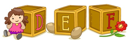 def: Illustration of Wood Blocks with the Letters DEF Printed on Them