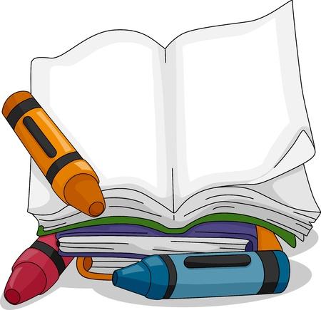reference book: Ilustraci�n de una sesi�n Crayon Junto a un libro en blanco Foto de archivo