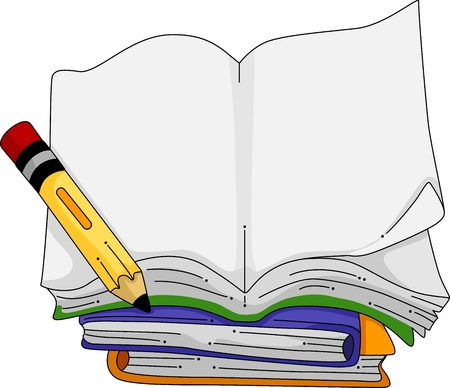 reference book: Illustration of a Pencil Sitting Beside a Blank Notebook Stock Photo