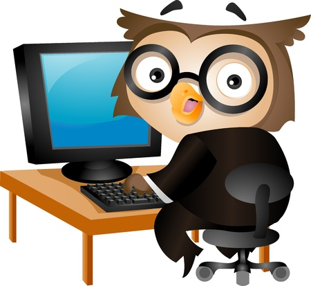 Illustration of an Owl Sitting in Front of a Desktop Computer illustration