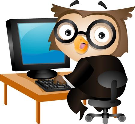computadora caricatura: Ilustraci�n de un buho que se sienta delante de un ordenador de sobremesa