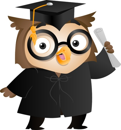 toga: Illustration of an Owl Wearing a Toga and Graduation Cap Holding a Diploma Stock Photo