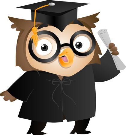 toga: Ilustración de un búho con toga y casquillo de la graduación que posea un diploma