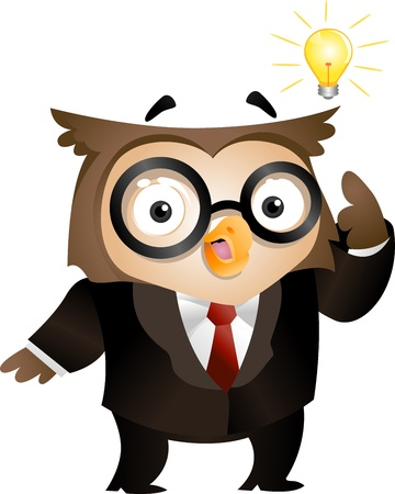 Illustration of an Owl with a Lighted Lightbulb Hovering Around His Head illustration