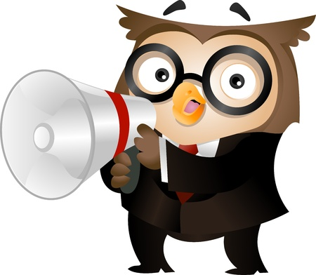 formalwear: Illustration of an Owl Clad in Business Attire and Holding a Megaphone Stock Photo