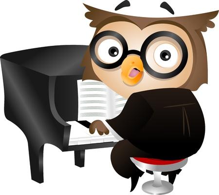 Ilustración de un buho Nerdy que juega el piano
