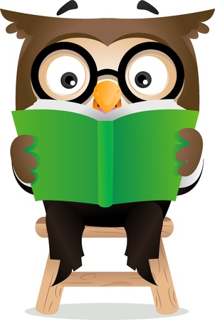 Illustration of an Owl Reading a Book illustration