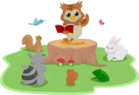 storyteller: Illustration of an Owl Standing on a Tree Stump While Reading a Book to Animals Stock Photo