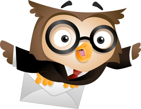 owl cartoon: Illustration of an Owl Carrying a Sealed Letter