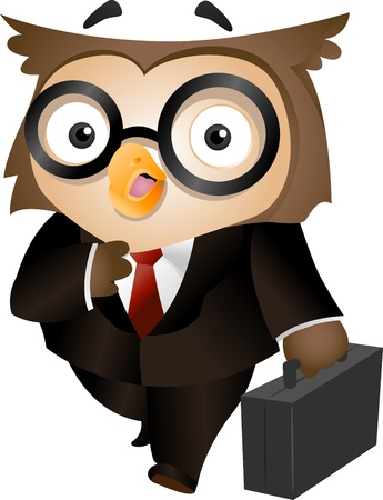 nerdy: Illustration of an Owl Carrying a Briefcase