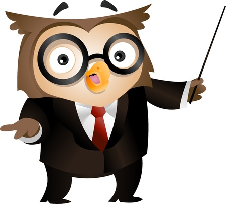 Illustration of an Owl Holding a Stick to Emphasize What He is Saying illustration