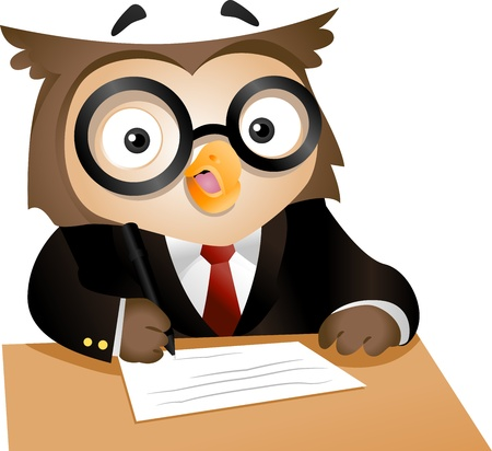 owl cartoon: Illustration of a Nerdy Owl Writing on a Piece of Paper Stock Photo