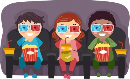 movie film: Illustration of Kids Watching a Movie with 3D Glasses While Eating Popcorn