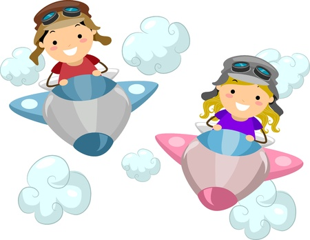 airplane cartoon: Illustration of Kids Wearing Aviator Outfits While Flying a Makeshift Airplane