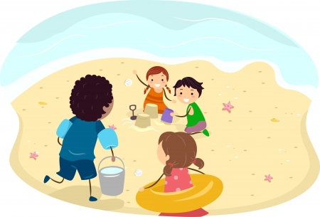Illustration of Kids Making a Sand Castle on the Beach illustration