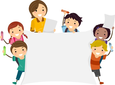 maestra preescolar: Ilustración de los niños, con un cartel grande con una mano y un lápiz de color con el Otro