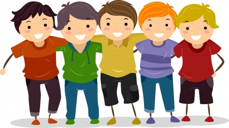 Illustration of a Group of Boys Huddled Together illustration