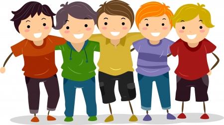 mejores amigas: Ilustraci�n de un grupo de muchachos api�ados
