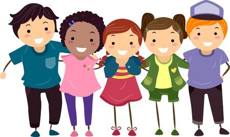 mejores amigas: Ilustraci�n de un grupo de chicos y chicas api�ados Foto de archivo
