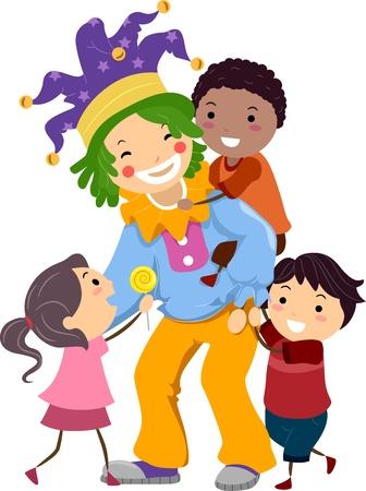 payasos caricatura: Ilustraci�n de ni�os jugando con un hombre vestido como un payaso Foto de archivo