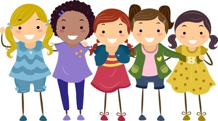 best friends forever: Illustration of a Group of Girls Huddled Together