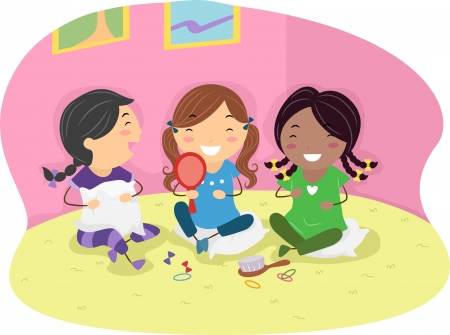 friends cartoon: Illustration of Girls Having a Slumber Party Stock Photo