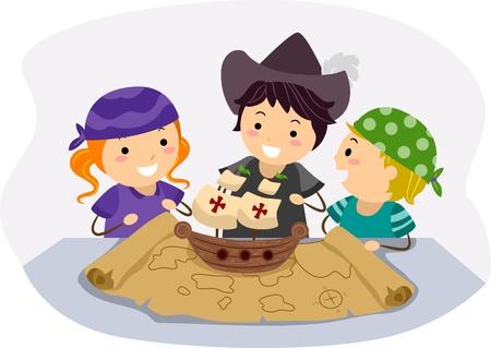 columbus: Illustration of Kids Celebrating Columbus Days by Pretending to be Navigators Stock Photo