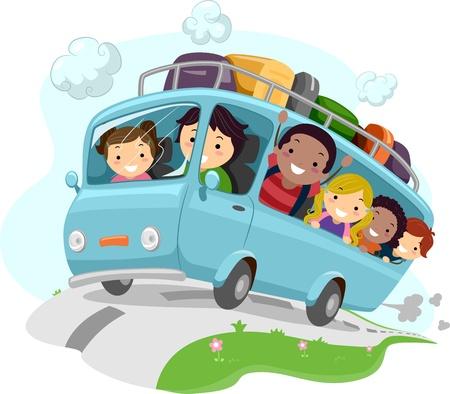 Illustration angeregter Kids Jubeln während der Fahrt ein Bus