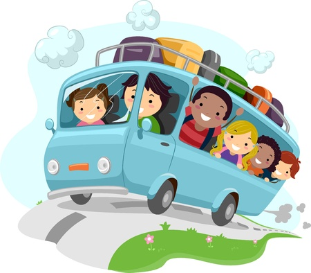 outing: Illustration of Excited Kids Cheering While Riding a Bus