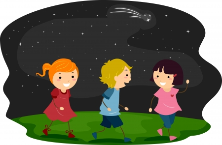 children walking: Illustration of Kids Taking a Walk with Starry Skies as Background