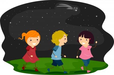 niños caminando: Ilustración de los niños paseando con firmamento como fondo