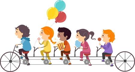 ni�os en bicicleta: Ilustraci�n de los ni�os comer dulces mientras se conduce una bicicleta t�ndem