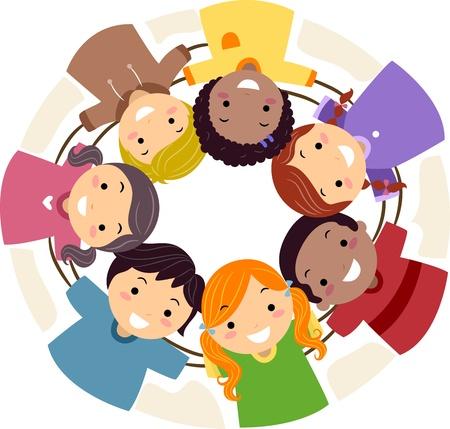 Ilustración de los niños apiñados en un Cirle